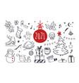 set christmas design doodle elements vector image vector image