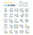set line icons 3d cars printing vector image vector image