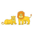set lion and lioness vector image