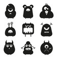 set of cartoon cute funny monsters isolated vector image vector image