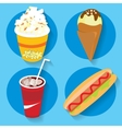 Set of icons fast food popcorn ice cream cola hot vector image