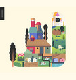 simple things - houses composition vector image