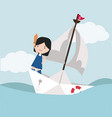small girl with sword standing on paper boat vector image vector image