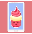 Smartphone with Cupcake in flat cartoon style vector image vector image