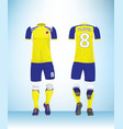 soccer jersey or football t-shirt mock up vector image vector image