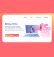 social media horizontal banner girl with megaphone vector image vector image