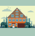 suburban house cottage with garden on background vector image