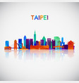 taipei skyline silhouette in colorful geometric vector image vector image