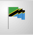 tanzania waving flag creative background vector image vector image