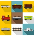Train icons set flat style vector image vector image