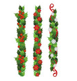 vertical holly plant borders with red berries and vector image vector image
