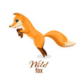wild fox cheerful animal with orange fur vector image vector image