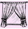 window frame with curtain vector image vector image