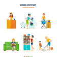 woman housewife in bathroom kitchen bedroom vector image vector image