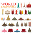 world countries landmarks colorful silhouette set vector image