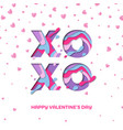 xo xo valentines day papercut text design vector image vector image