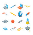 school equipments and tools icons set isometric vector image