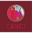 wine label in flat simple style vector image