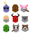 Set Serious head Evil muzzles of animals and vector image