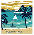 Summer beach with Palm trees Hawaii Card vector image