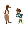 two dachshund badger dog characters in clothes vector image