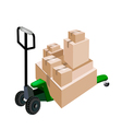 A Pallet Truck Loading Stack of Shipping Boxes vector image vector image