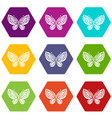 beautiful butterfly icons set 9 vector image vector image