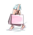 beautiful young woman with shopping bags fashion vector image