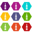 bottle of vodka icon set color hexahedron vector image vector image