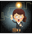 business woman solving the solution of labyrinth vector image vector image