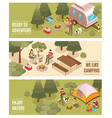 camping hiking isometric banners vector image