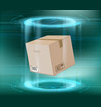 cardboard box package on a futuristic background vector image vector image