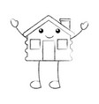 cartoon cabin house wooden chimney comic vector image vector image