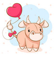 cartoon cute cow with pink balloon vector image vector image