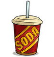 cartoon plastic cup of soda drink with straw vector image vector image
