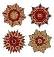 Circular patterns with red and yellow elements vector image vector image