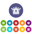 cog crown icons set flat vector image vector image
