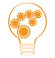 conceptual idea lightbulb with gear pieces vector image