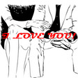 couple holding hands female and male hands vector image vector image
