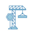 crane construction with stop sign vector image