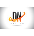 dn d n letter logo with fire flames design and vector image vector image