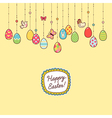 Easter hang eggs yellow vector image vector image
