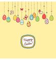 Easter hang eggs yellow vector image