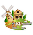 farmer and cows in the farm vector image vector image