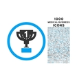 First Prize Cup Rounded Icon with 1000 Bonus Icons vector image