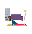 girl is doing exercises sports at home vector image vector image