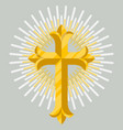 golden catholic cross icon isolated vector image