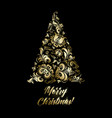 golden fir tree patterns and merry christmas vector image