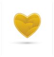 golden heart on white background vector image vector image