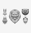 grizzly bear lion and hare screaming mad leo vector image vector image